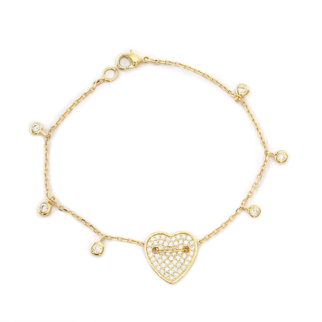 Heart gold & diamond bracelet with diamond drops - sillyshinydiamonds