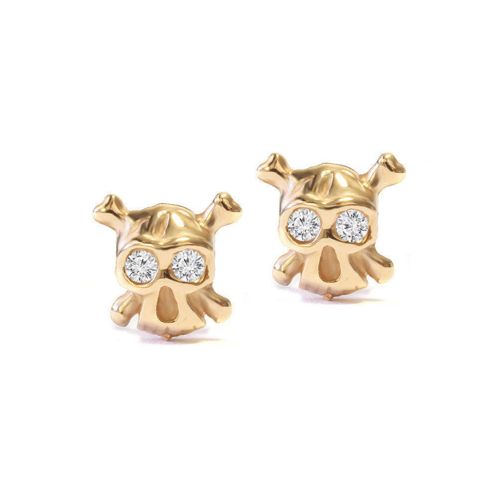 Tiny Skulls Diamond Eyes Stud Earrings - sillyshinydiamonds