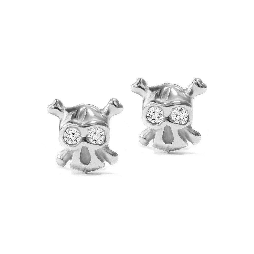 Tiny Skulls Diamond Eyes Stud Earrings