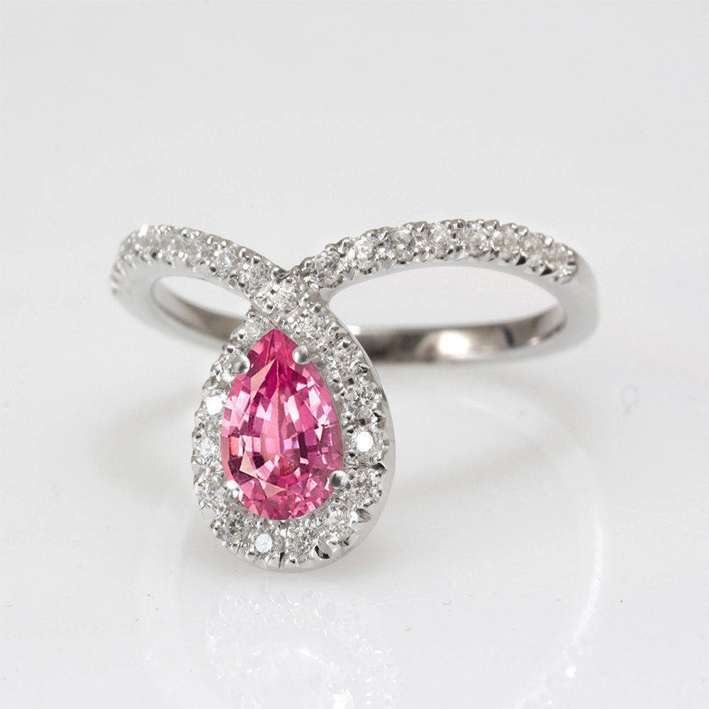 Bliss Pear Pink Sapphire & Diamond Unique Diamond Loop Engagement Ring - sillyshinydiamonds