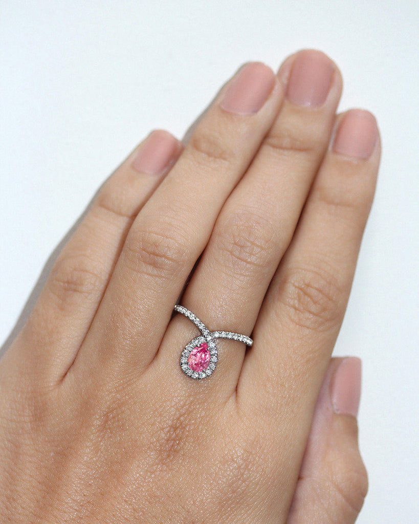 Bliss Pear Pink Sapphire & Diamond Unique Diamond Loop Engagement Ring