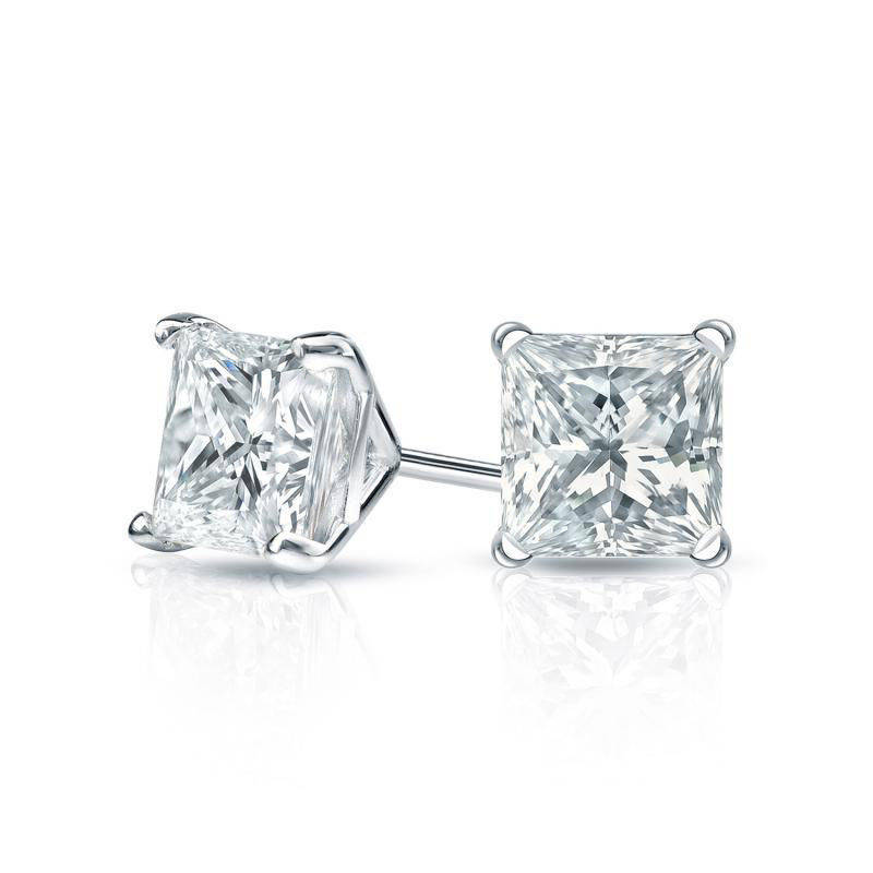 Princess Cut Diamond Martini Stud Earrings - sillyshinydiamonds
