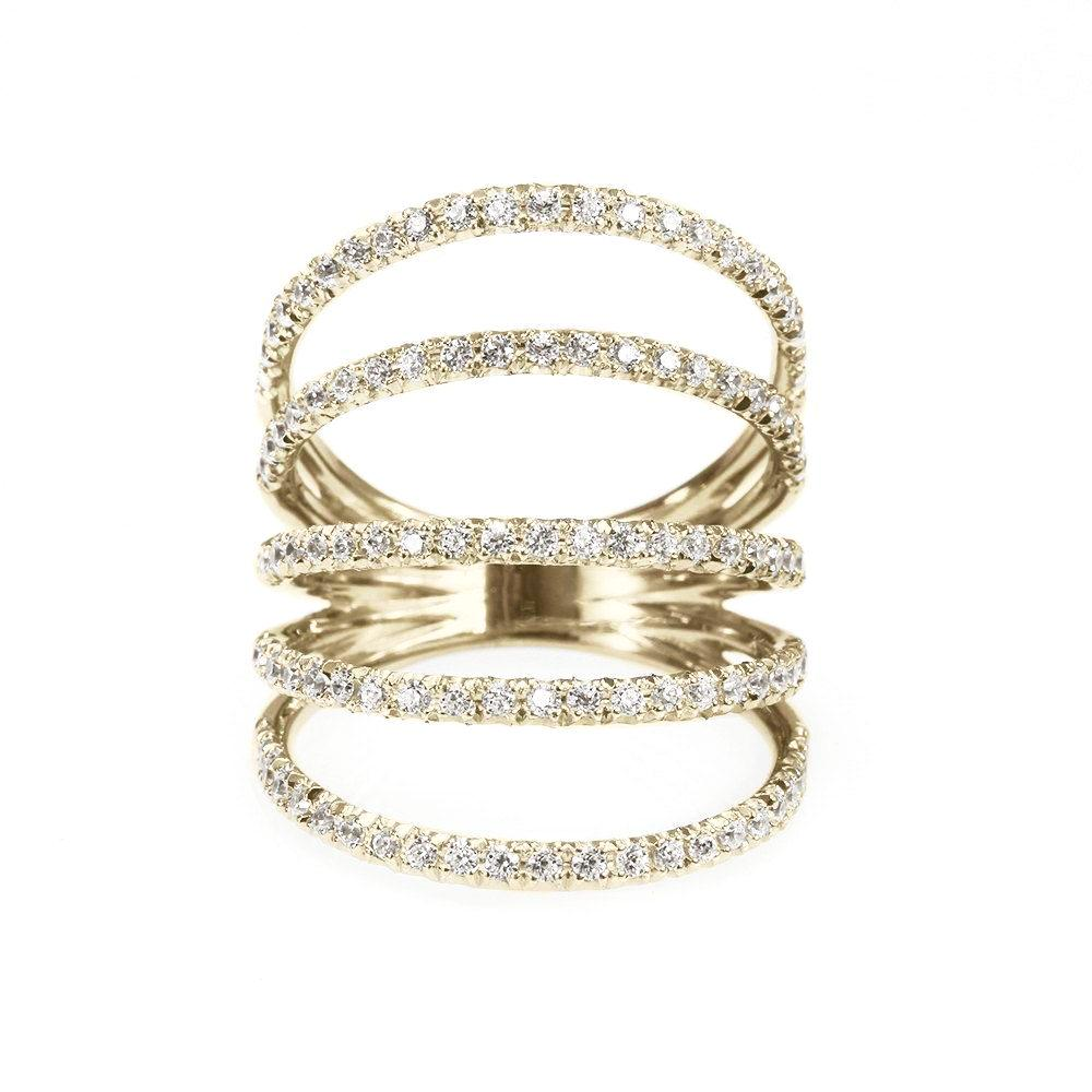 Diamonds Shield Statement Wide Diamond Ring