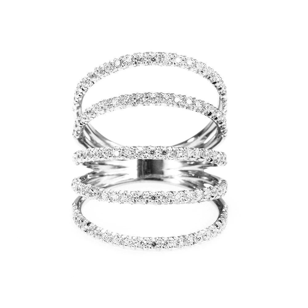 Diamonds Shield Statement Wide Diamond Ring - sillyshinydiamonds