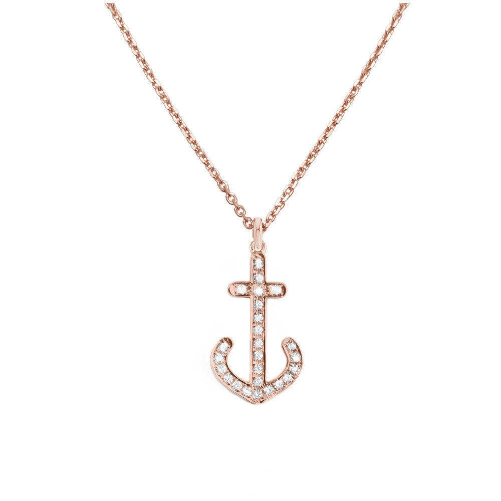 Dainty diamond anchor pendant necklace