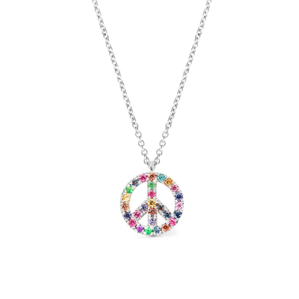 Peace Sign Rainbow Gemstone Colorful Mix - sillyshinydiamonds