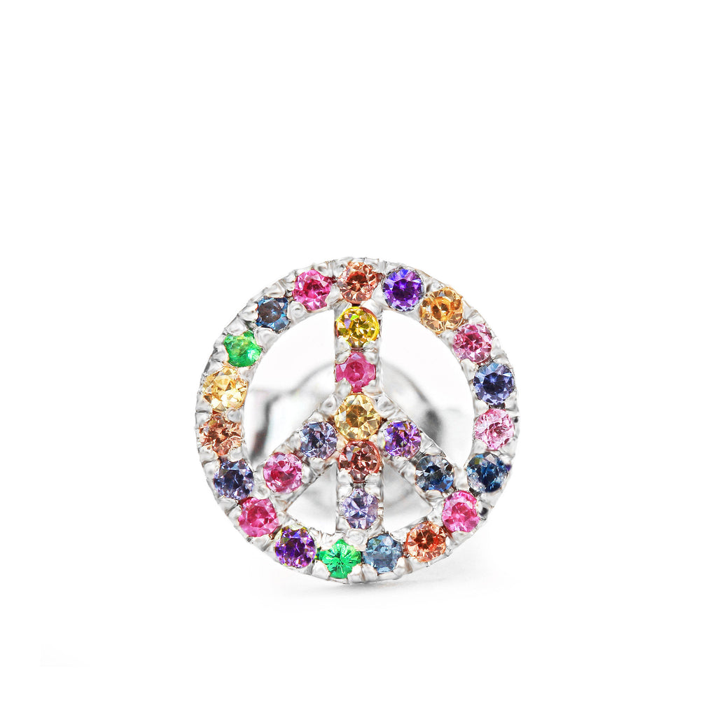 Peace Sign Rainbow Gemstone Unique Stud Earrings - sillyshinydiamonds