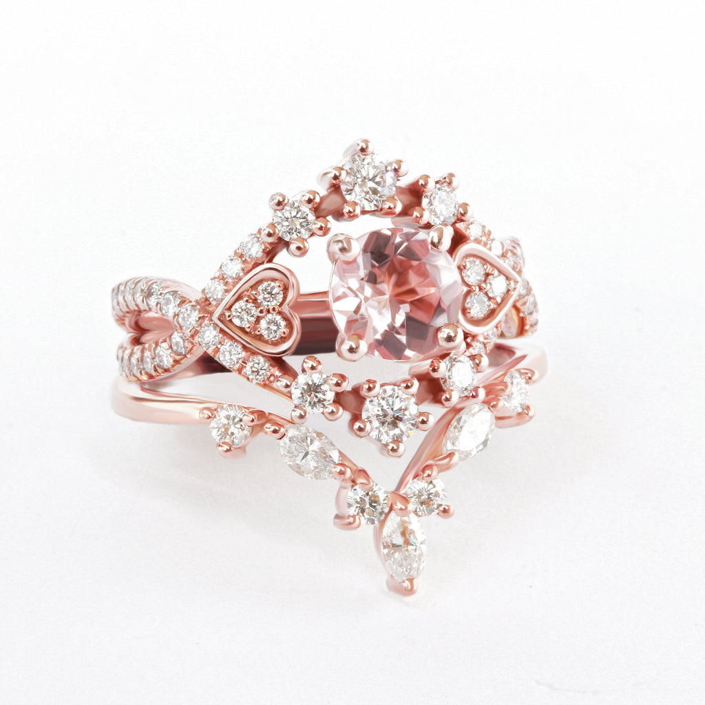 Morganite & Diamonda Halo Unique Engagement Ringa Set - Destiny & Hermes Nesting ring