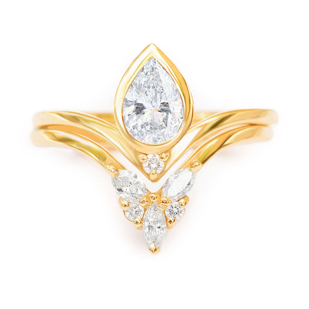 Bindi Pear Diamond & Cupid, Engagemnet & Wedding, Bridal Rings Set - sillyshinydiamonds