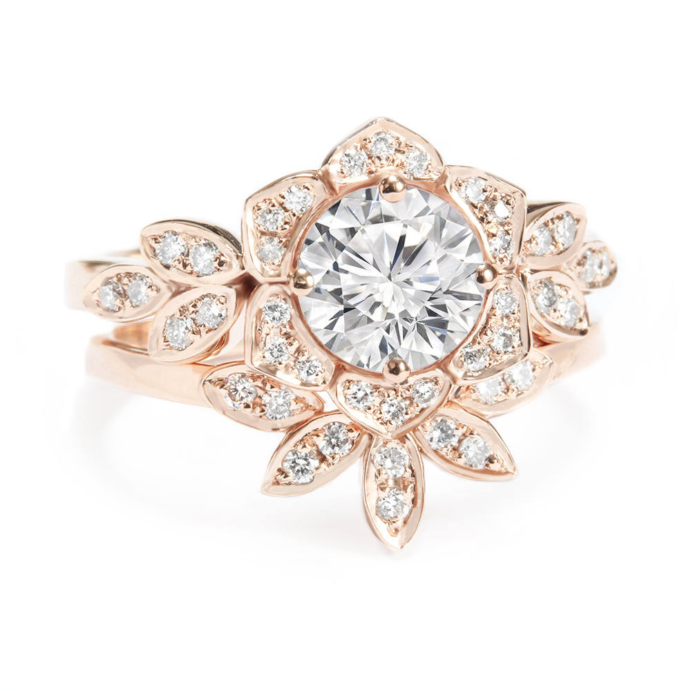 Lily Flower Moissanite & Diamonds Engagement Rings Set - sillyshinydiamonds