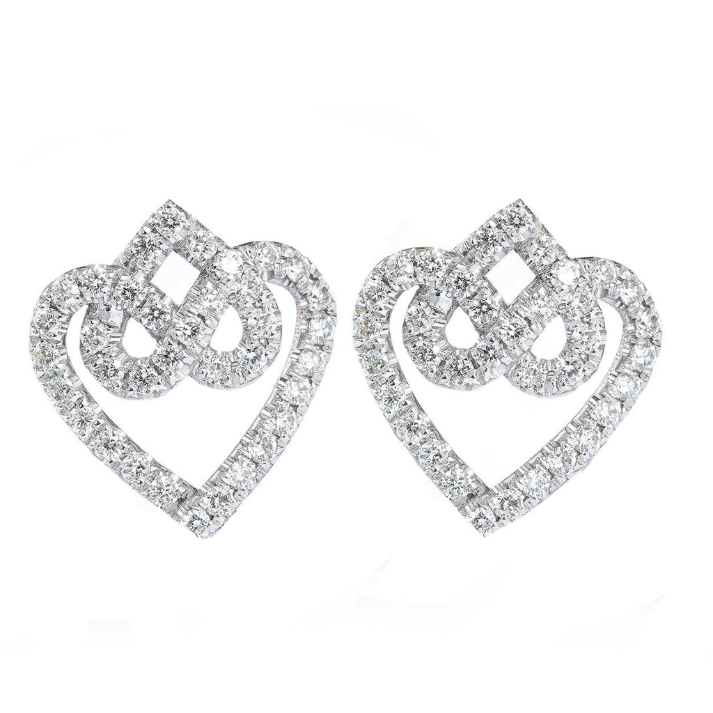 Hearts Lock Knot Stud Diamond Earrings