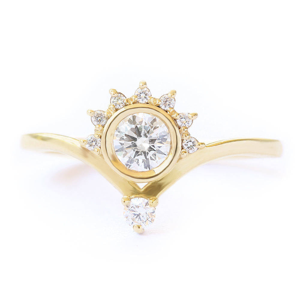 Unique Crown Diamond Engagement Ring, 0.4 CT Diamond Ring, Crown Engagement Ring, 7.0 Size, 14K Yellow Gold Ring Jewelry - sillyshinydiamonds