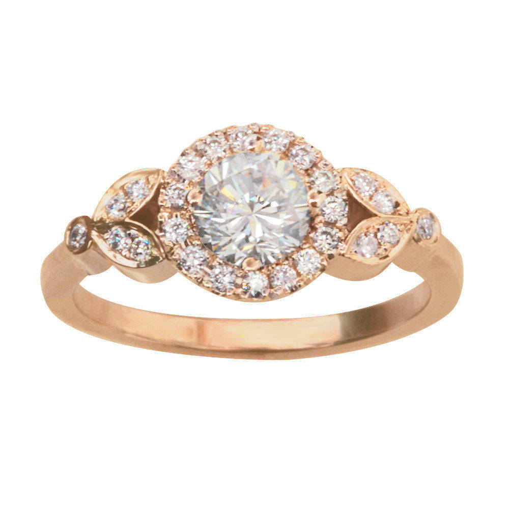 Rome Diamond 0.65ct Halo Unique Engagement Ring - sillyshinydiamonds