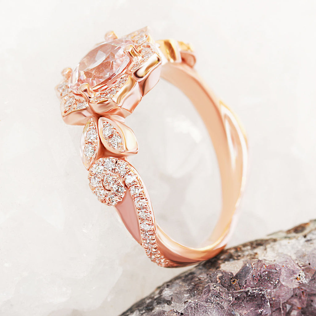 Lily Wave Flower - Morganite & Diamonds Unique Engagement Ring