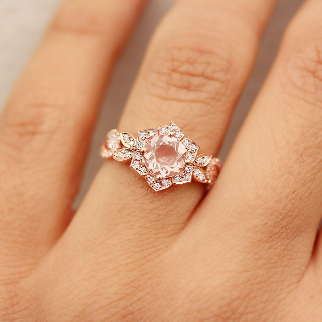 Lily Wave Flower - Morganite & Diamonds Unique Engagement Ring - sillyshinydiamonds