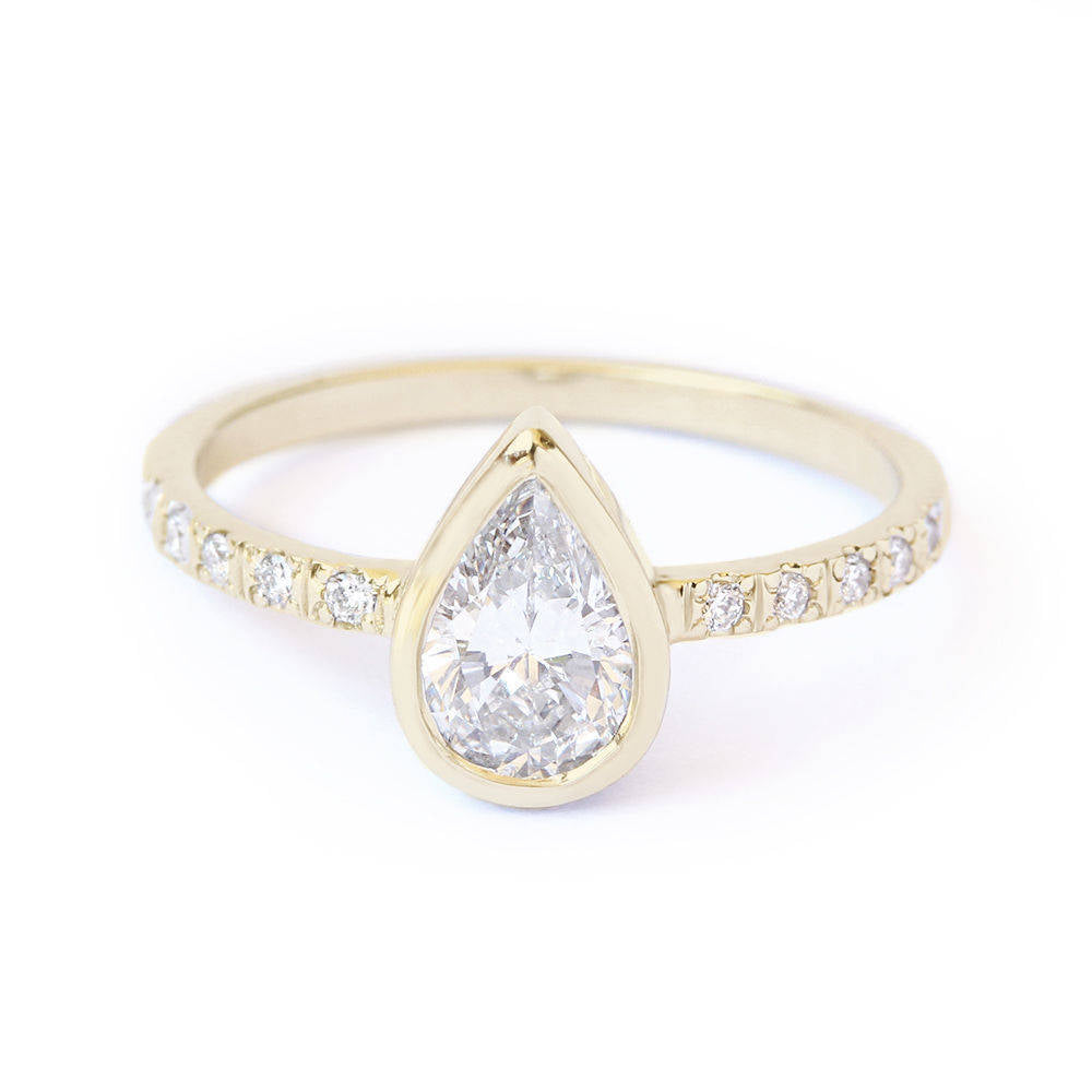 Bezel Set Pear Diamond Minimal Engagement Ring - sillyshinydiamonds