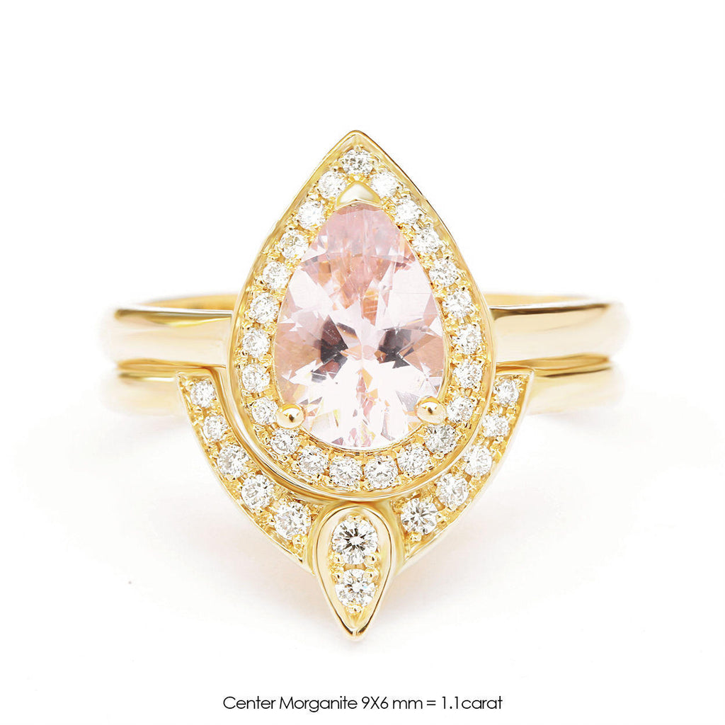 1 carat Pear Morganite & Diamonds Halo, The 3rd Eye Engagement Rings Set - sillyshinydiamonds