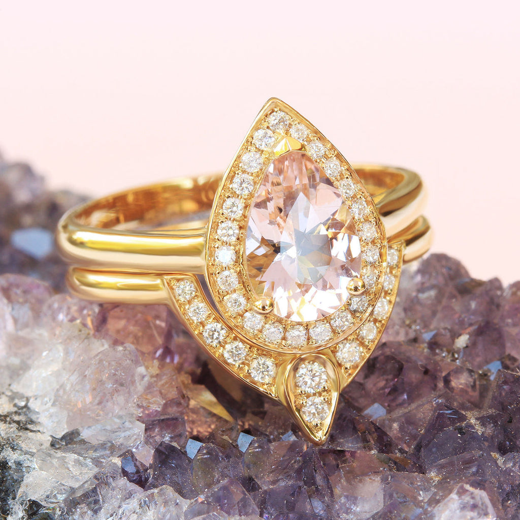 1 carat Pear Morganite & Diamonds Halo, The 3rd Eye Engagement Rings Set