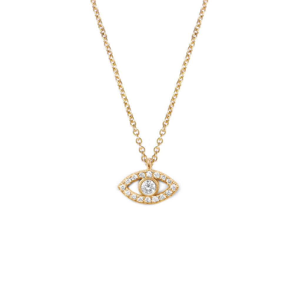 Tiny Evil Eye Diamond Necklace - sillyshinydiamonds