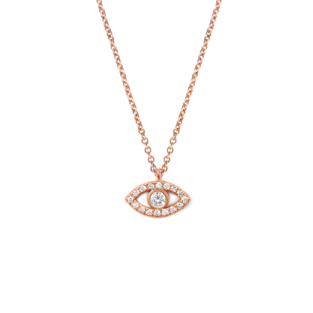 Tiny Evil Eye Diamond Necklace