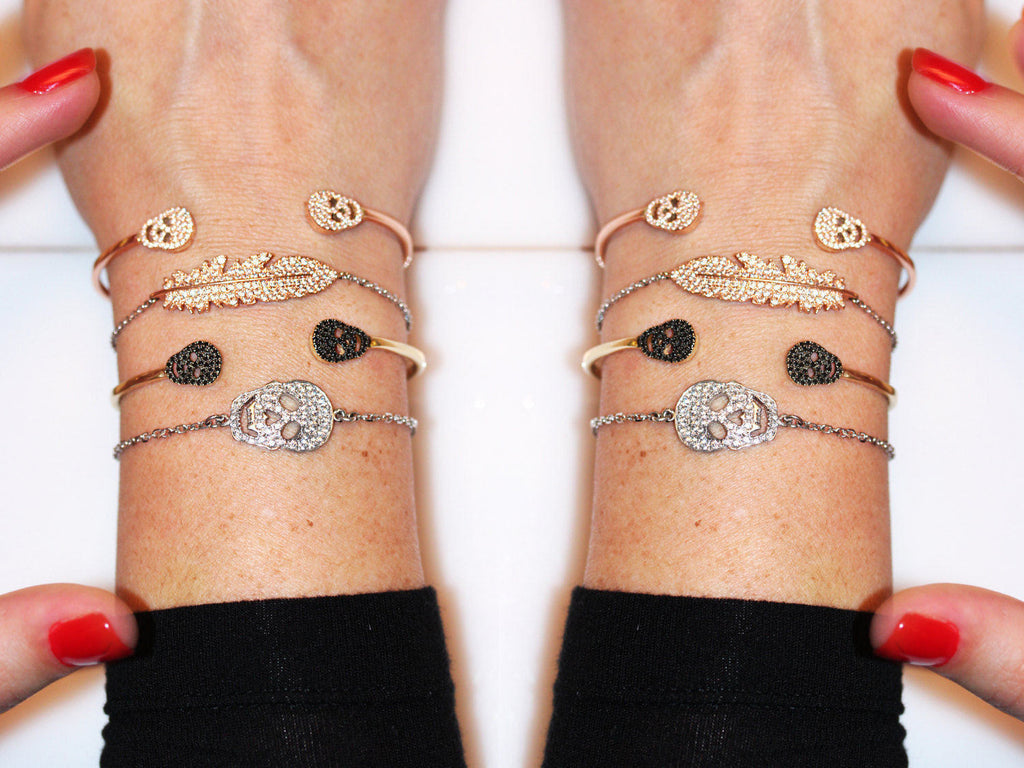 Skulls Cuff Diamond bangle bracelet,