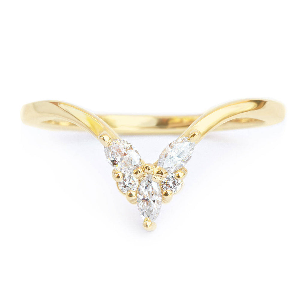 Cupid, 0.2 carat Gold & Diamonds Chevron V Nesting Ring - sillyshinydiamonds