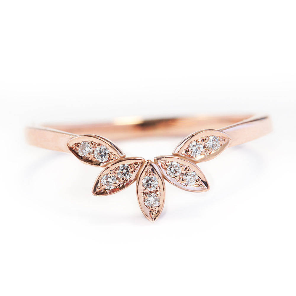 5 Leaves Nesting Diamond Wedding Ring - sillyshinydiamonds