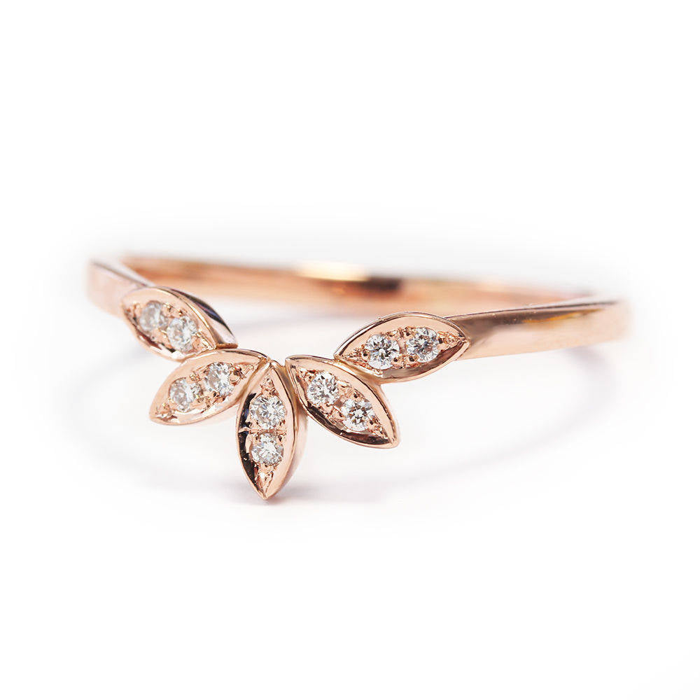 5 Leaves Nesting Diamond Wedding Ring