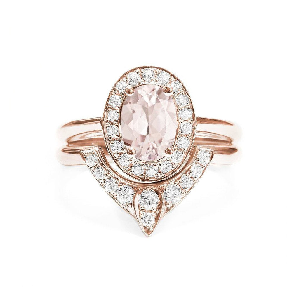 Oval Morganite Unique Engagement Rings Set -  The 3rd Eye - sillyshinydiamonds