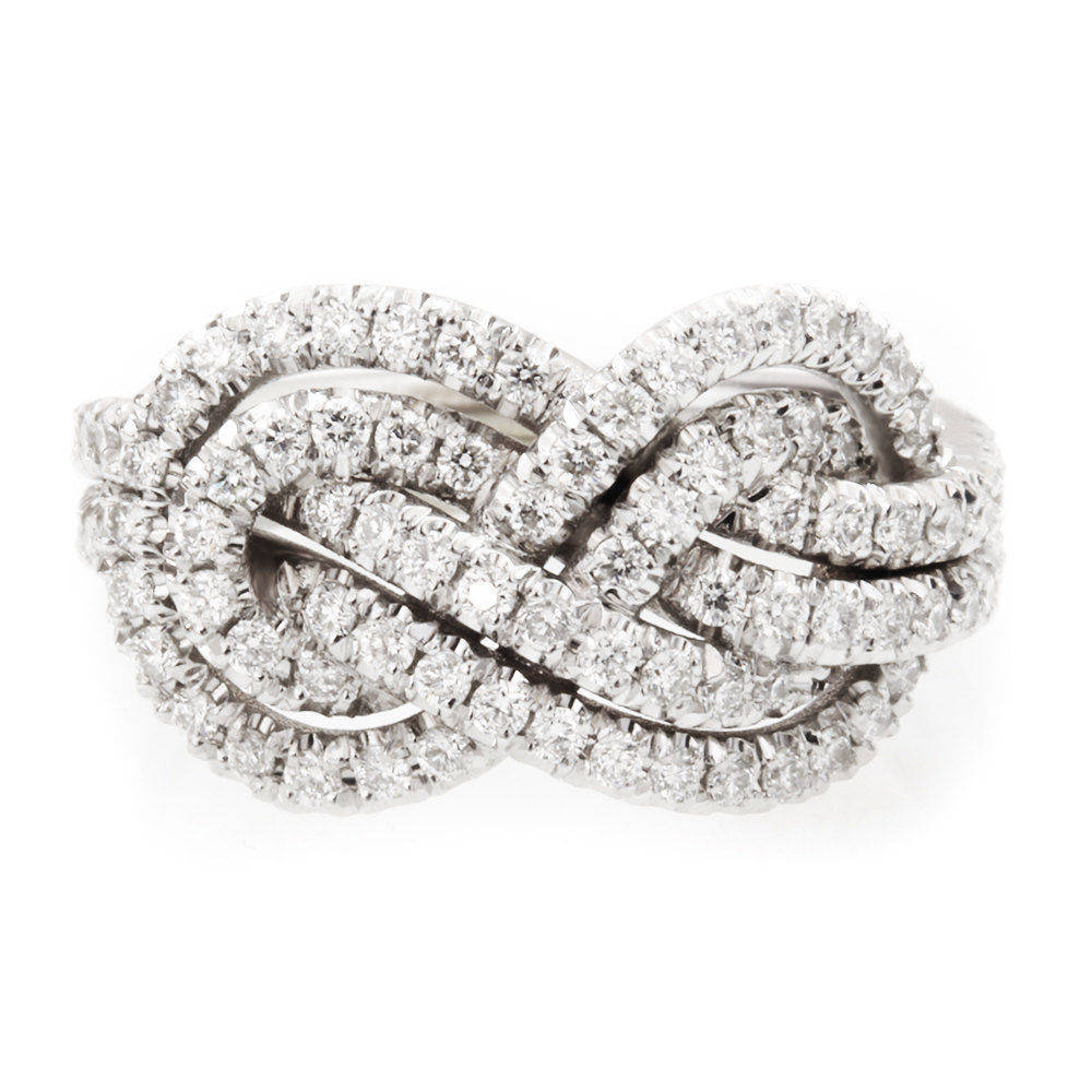 Double Infinity Knot Anniversary Diamond Ring