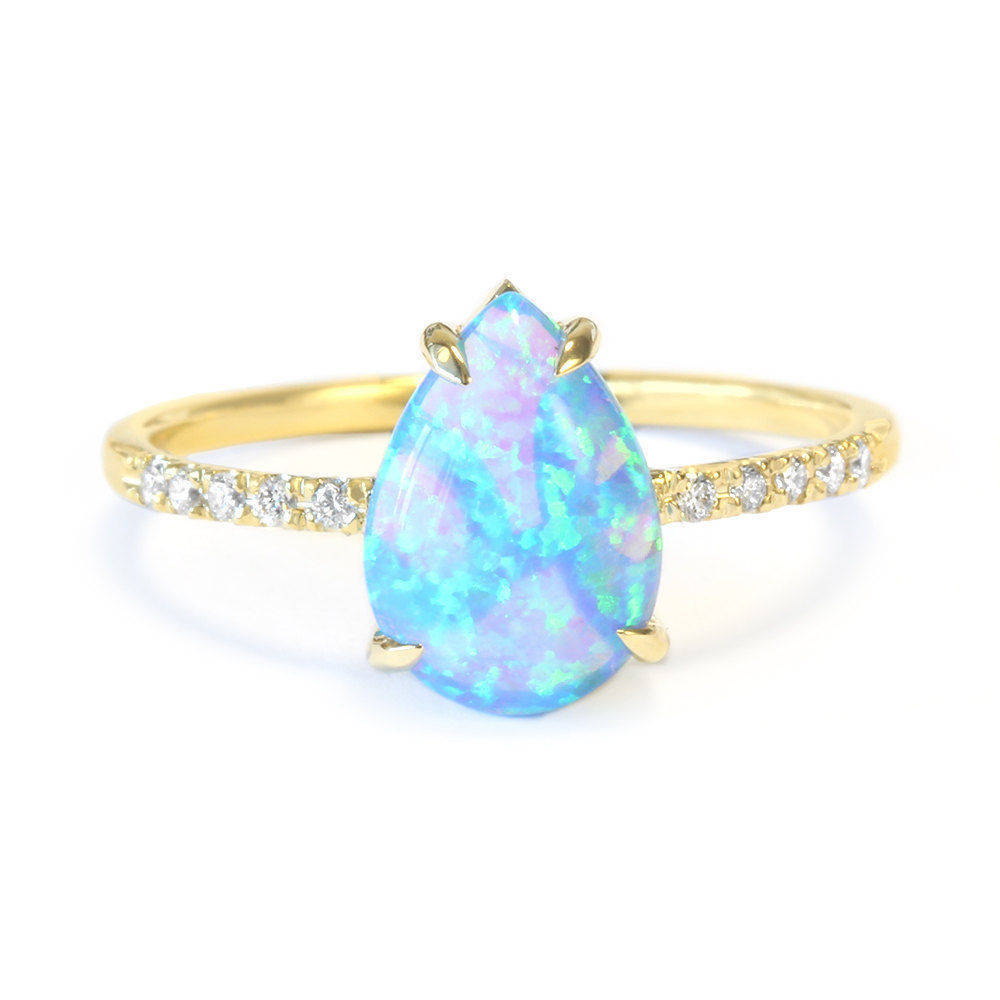 Xo Pear Opal & Diamonds Ring - sillyshinydiamonds
