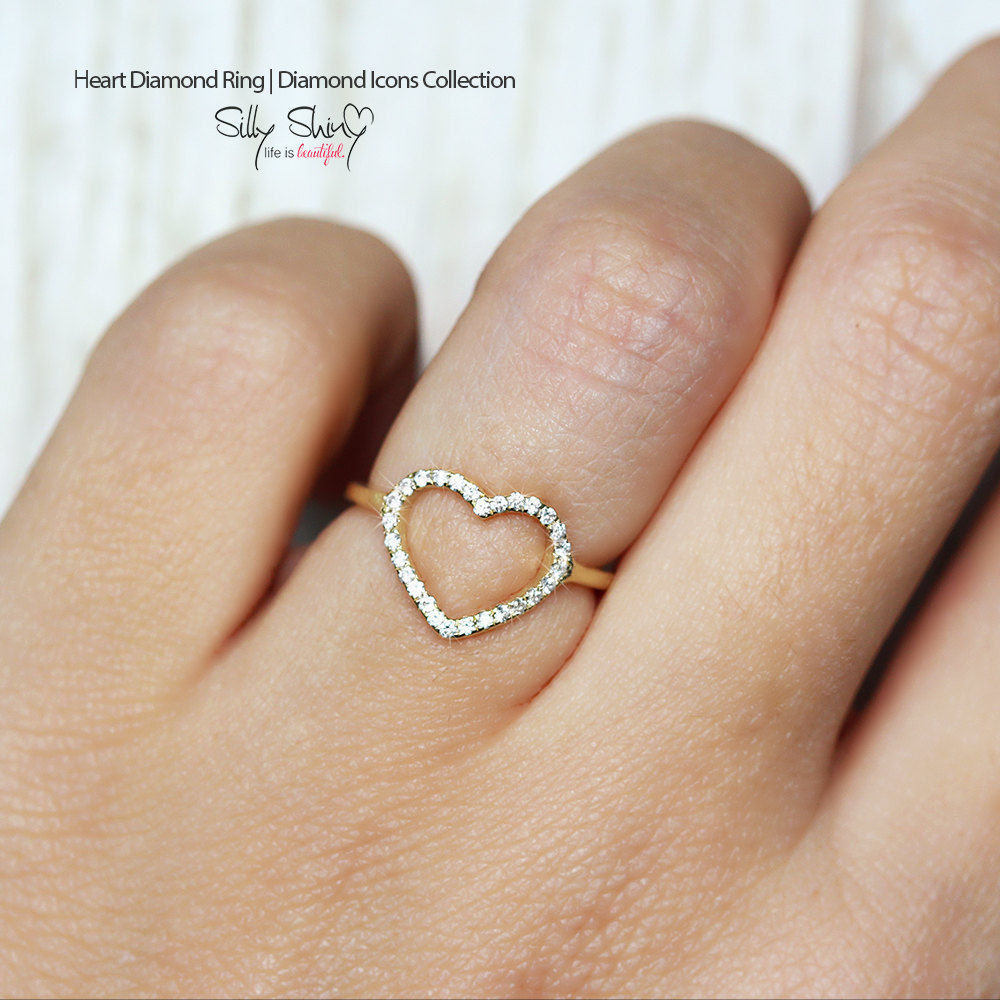 Heart Diamond Ring 0.15 carat - sillyshinydiamonds
