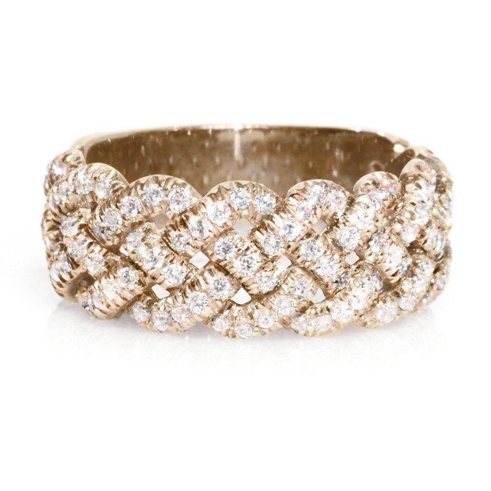 Braided Wide Diamond Anniversary Band 9mm - sillyshinydiamonds
