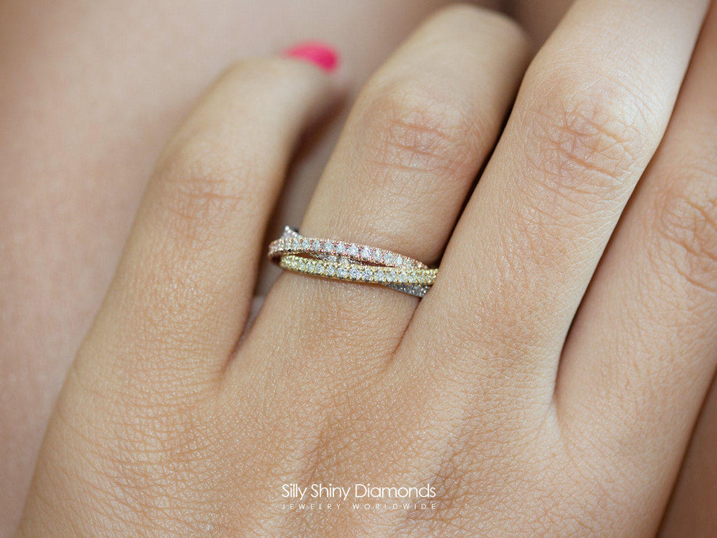 Tricolor, 3 Rolling Diamond Ring Band - sillyshinydiamonds