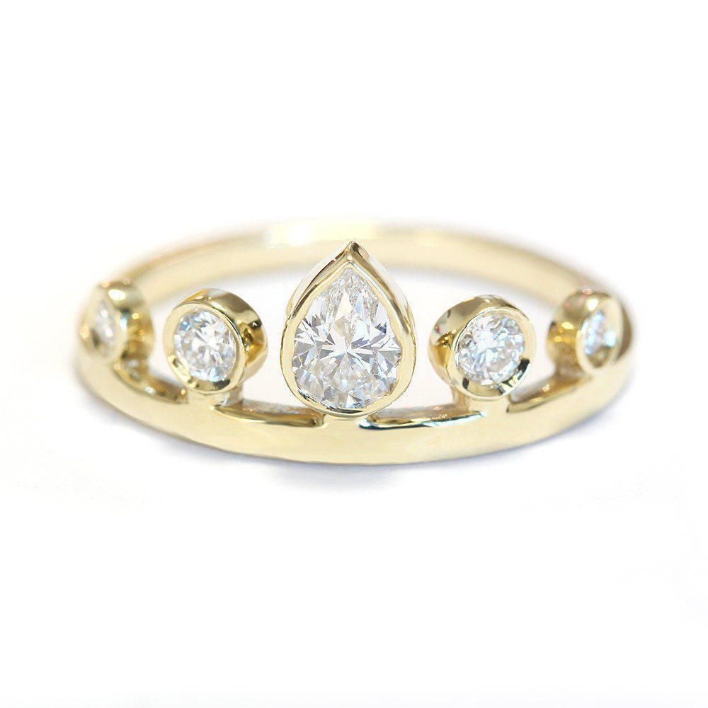 Pear Diamond Tiara Unique Crown Ring