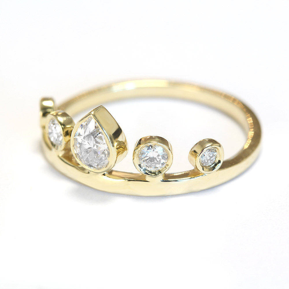 Pear Diamond Tiara Unique Crown Ring - sillyshinydiamonds