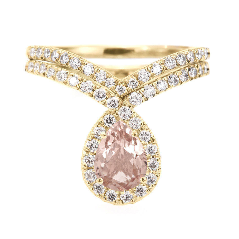 Bliss Morganite & Diamonds Unqiue Engagement Wedding Ring Set - sillyshinydiamonds