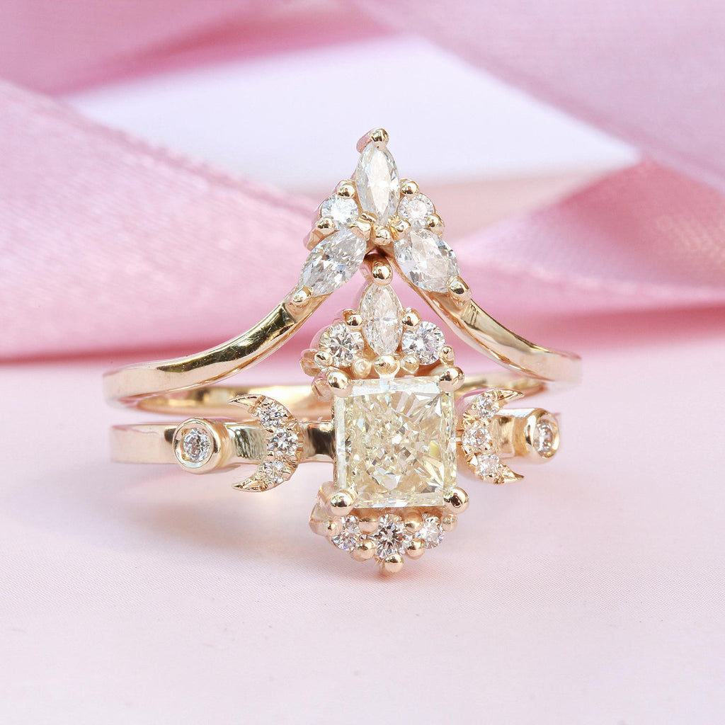 Doorway to Heaven Hindi Moon phase Square Princess Cut Diamond Unique Engagement Ring - sillyshinydiamonds