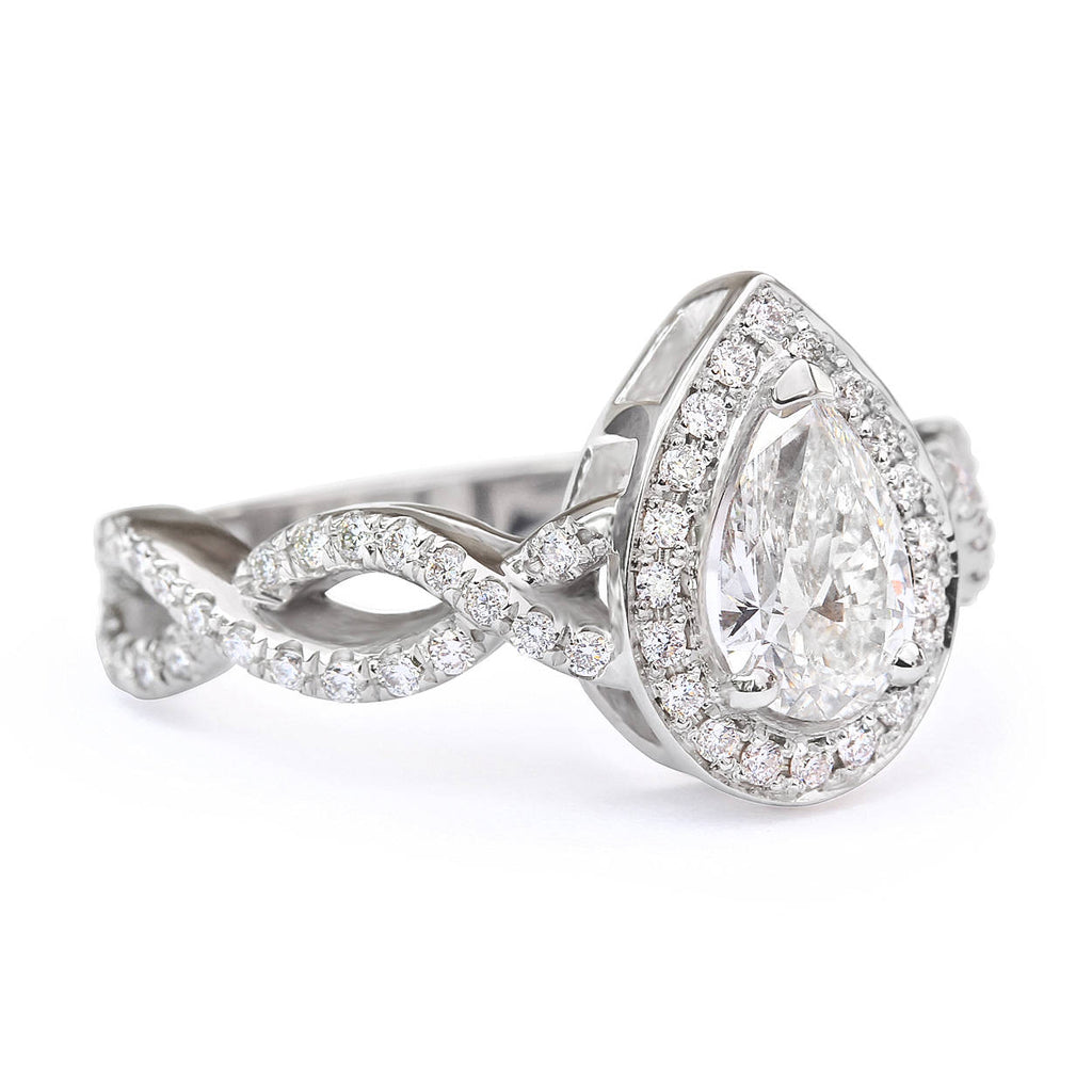 Pear Moissanite Ring Halo Diamond, Infinity Shank Unique Engagement Ring - sillyshinydiamonds