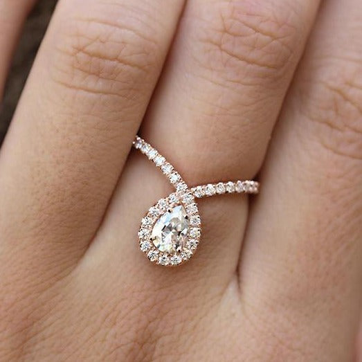 Bliss - Pear Diamond Halo Unique Engagement Ring