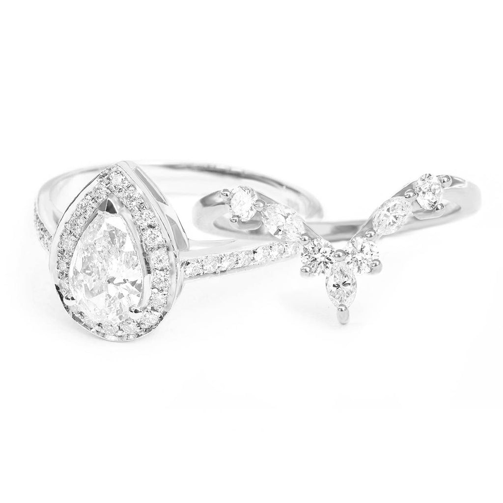 Pear Diamond 0.7ct Halo Classic Engagement Ring,  GIA certificated