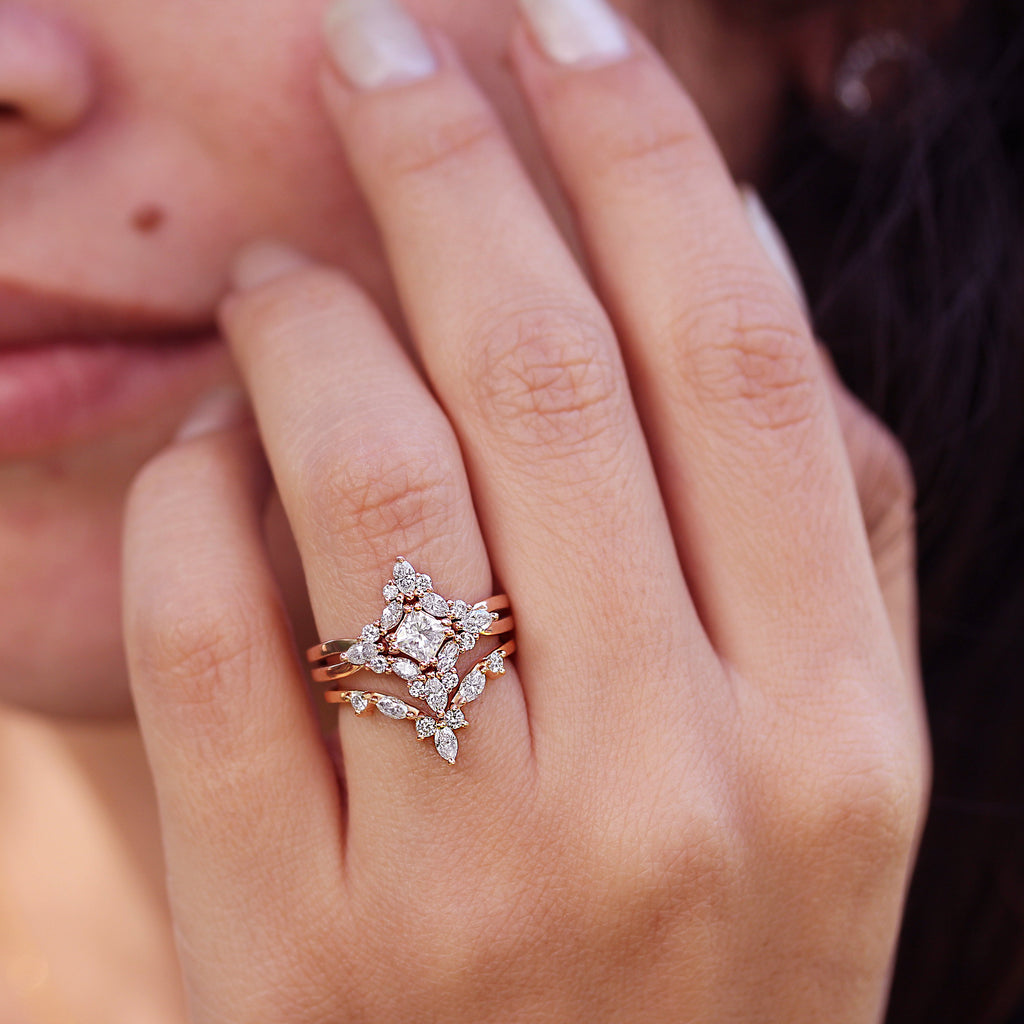 Altair - Princess Cut Square Moissanite & Diamonds 0.8 carat, Cluster Three Engagement Rings Set - sillyshinydiamonds
