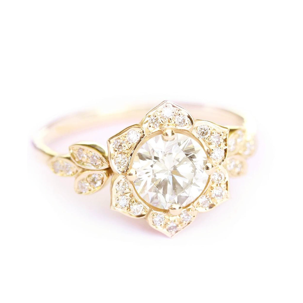 Lily Floral Moissanite & Diamond Engagement Ring