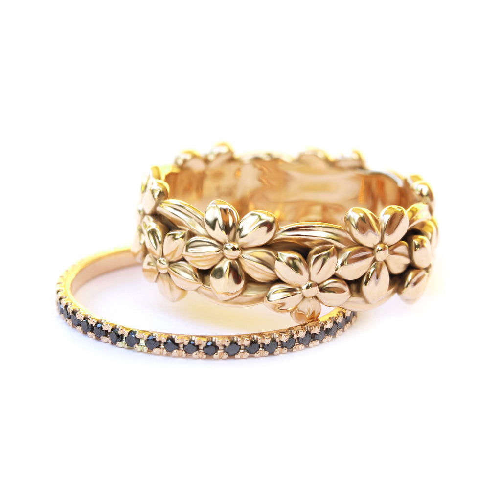 Floral Jungle Gold Wedding Band - sillyshinydiamonds