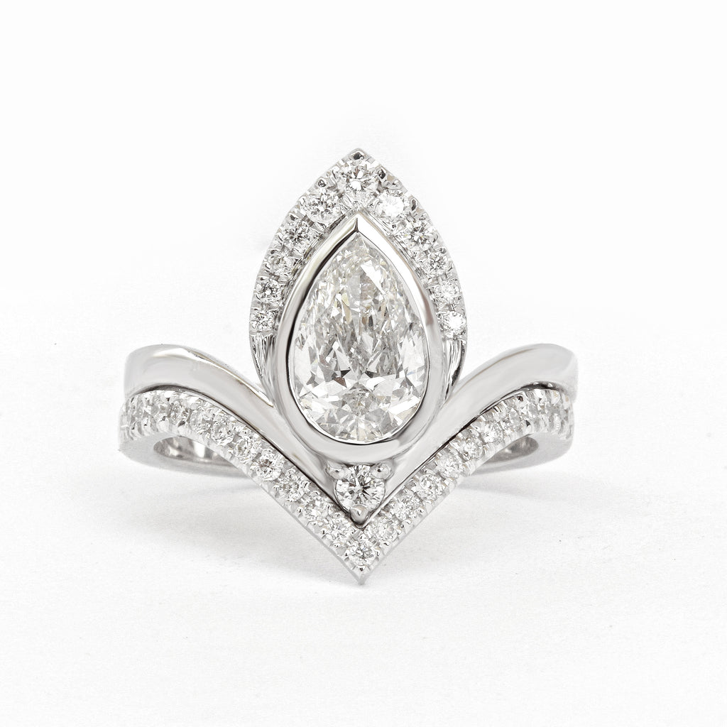1.35 crat Pear Diamond Engagement Rings set with Matching V Nesting Wedding Band Atyasha - sillyshinydiamonds