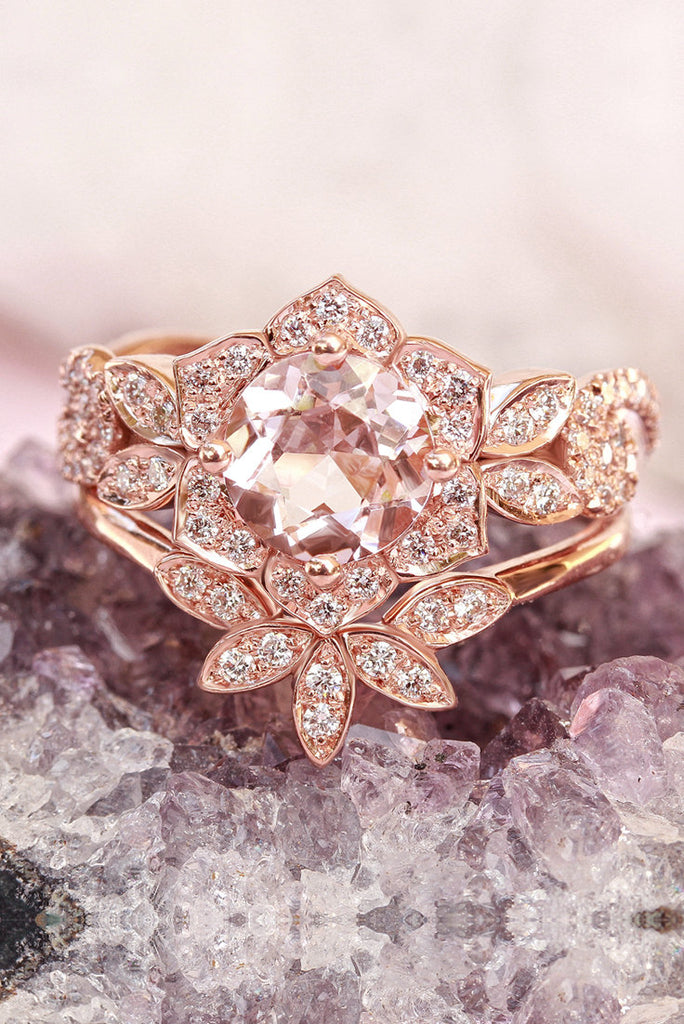 Lily Wave Morganite & Diamonds Bridal Rings Set