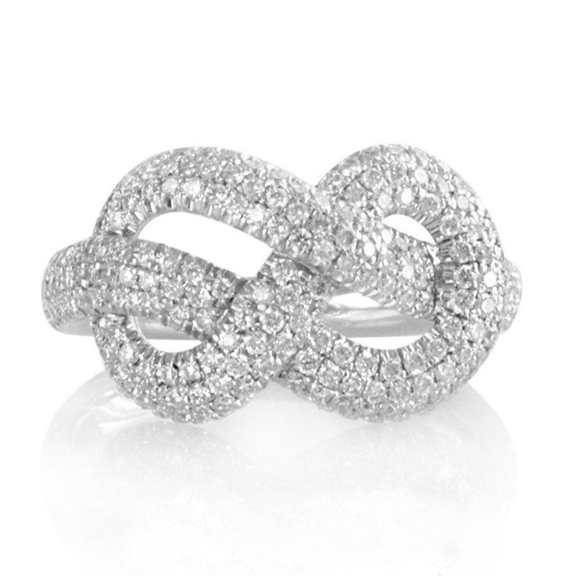 Anniversary statement Infinity Knot Diamond Ring,.