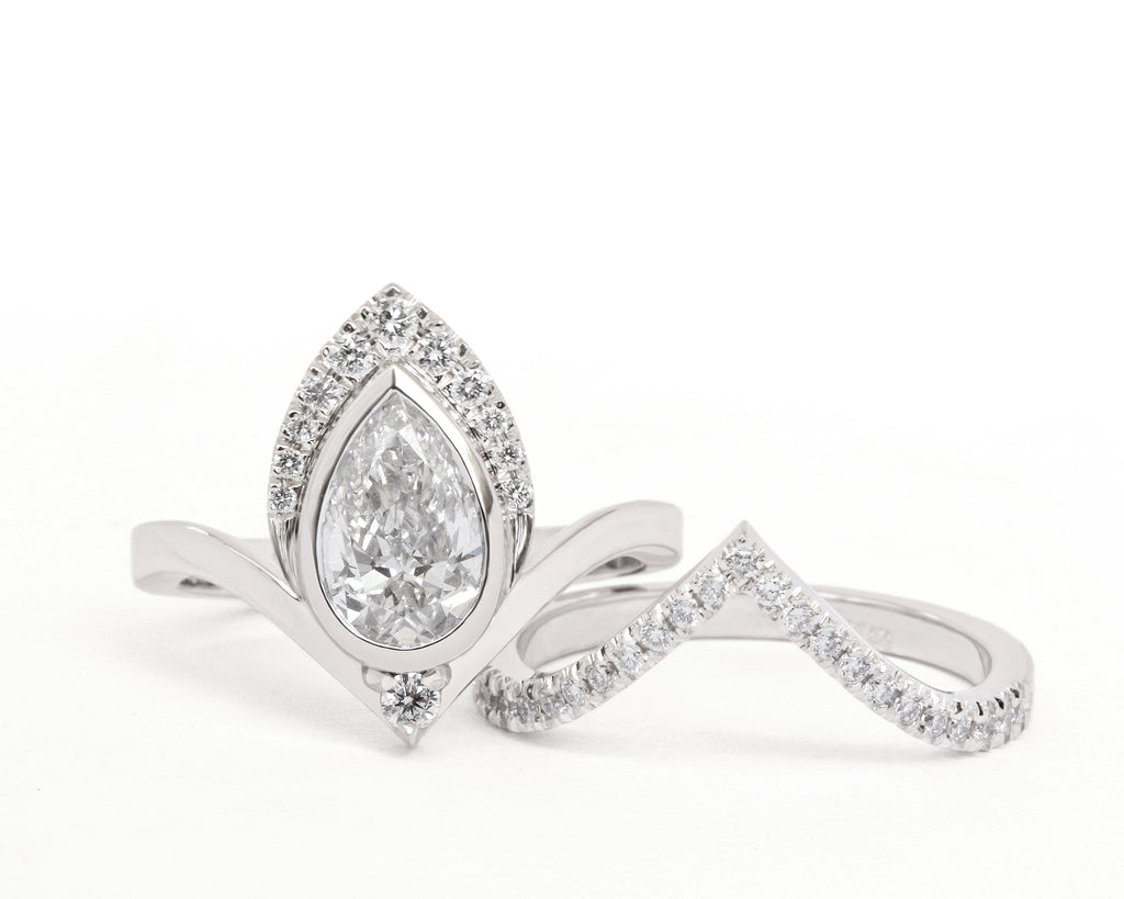 1.35 crat Pear Diamond Engagement Rings set with Matching V Nesting Wedding Band Atyasha