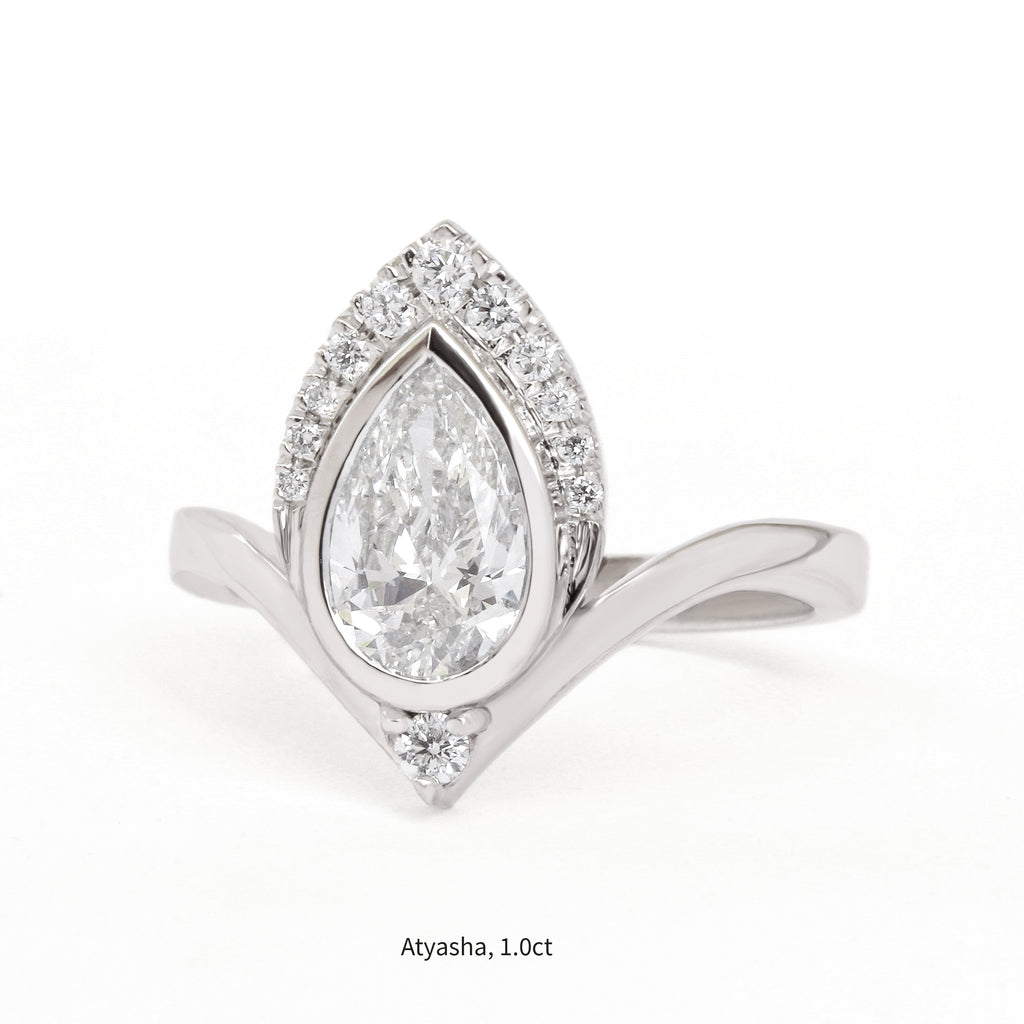 One Carat Pear Diamond Atayasha Unique Chevron Engagement Ring - sillyshinydiamonds
