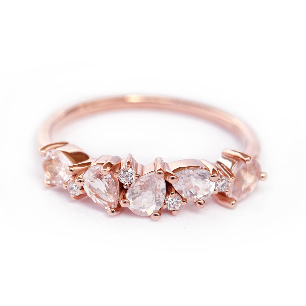 Asteroid Cluster Ring - Morganite Pear & Diamond Wedding - sillyshinydiamonds